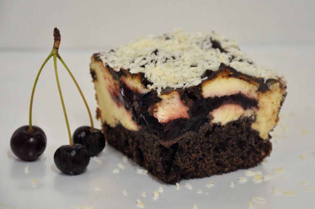 izaura, sernik na spodzie czekoladowym z dodatkiem wiśni